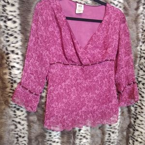 Faded Glory pink/red flower print blouse size smal